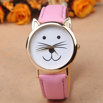 Reloj En Forma De Gato Kitty Dorado Color Rosa Pink