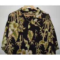 Camisa Hawaiana Islander T- 2x Negra Floreada