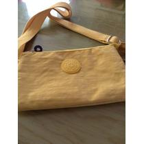 Bolsa De Mano Kipling Color Amarillo, Precio En Oferta!