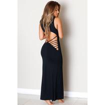 Moda Sexy Vestido Largo Negro Con Aberturas Tiras En Espalda