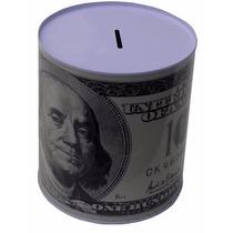 Alcancia Metalica Con Imagen De Billete De 100 Dolares