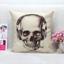 Cojín Decorativo Calavera 45x45cm Alta Calidad Skull Dark