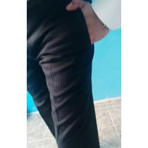 Fino Pantalón Azul En Rayas Del Mismo Tono T 30, Entubado