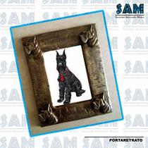 Portaretrato En Resina Schnauzer Perro Foto Familia