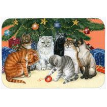 Gatos Bajo El Árbol De Navidad Cocina O El Baño Mat 24x36