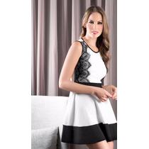 Vestido Corto Color Blanco Con Negro 902045 Tallas Ch - G