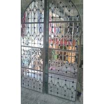 Vitral De Cristal Y Acero Puerta Incluye Arco Con Molduras