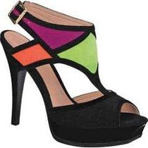 Sandalias Andrea De Colores Negro Naranja Verde Y Violeta