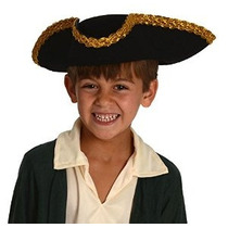 Revolucionario Niños Guerra Deluxe Colonial Tricorn Sombrero
