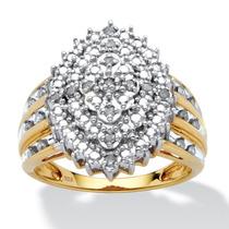 Anillo Diamante Oro 18k Sobre Plata 1/3 Ct Peso Total Tam. 7