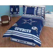 Juego De Edredon Individual Cowboys Dallas Star Con Sabanas