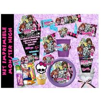 Kit Imprimible Monster High Etiquetas Fiesta Invitaciones