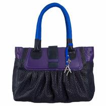 Bolsa De Mano 100% Piel Azul Con Morado Diseño Exclusivo