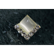 Arete Moda Plateado Cuadro Con Finos Cristales Ar429