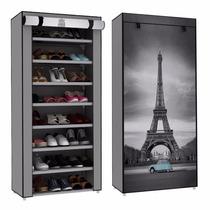 Zapatera Funda Torre Eiffel 8 Repisas Tela 24 Pares Zapatos