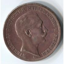 Alemania Prusia 3 Mark De 1912a De Plata (106p)