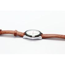Reloj Plata, Bisel Negro Y Correa Imitación Piel R42