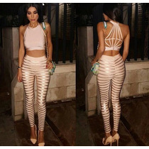 Conjunto 2 Pz Dama Pantalon Top Legging Ombliguera Dorado
