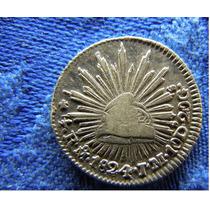 Moneda Mexico 1/2 Real 1824 Aguila Perfil Muy Escasa