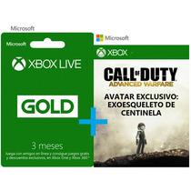 Tarjeta Xbox Gold 3 Meses + Avatar De Call Of Duty Gratis