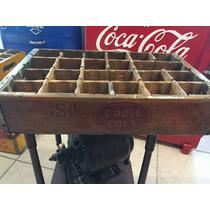 Caja De Refrescos Doble Cola Rara De Madera Antigua