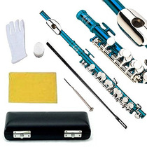Flauta Transversal Azul Orificios Cerrados Glory