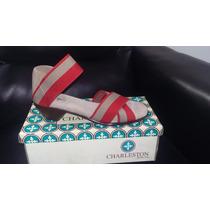 Zapato Sandalia Para Dama San Miguel Shoes Rojo Y Beige
