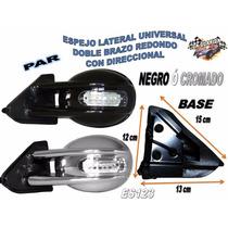Espejos Doble Brazo Con Direccional Redondo Universal Es123
