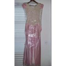 Vestido De Gala, Tela De Razo Con Guipiure, Usado, Talla 0