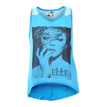 Playera Blusa Para Mujer Azul Con Encaje T Gde Importada