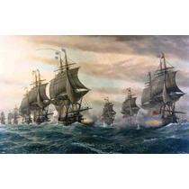 Lienzo En Tela. Batalla Barcos Cabo Virginia 60x90 Cm Marina