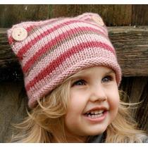 Gorro Niña Estambre, Crochet, Rayas Importados Usa Colores