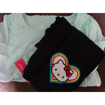 Conjunto Blusa Y Legging Hello Kitty Strech T-10 Añitos