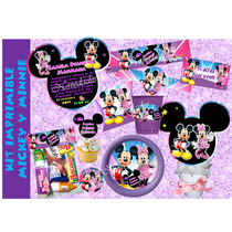Kit Imprimible Mickey Mouse Y Minnie Tarjeta Invitacion