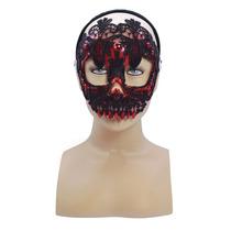 Masquerade Costume - Sugar Skull Negro Y Rojo De La Cara De