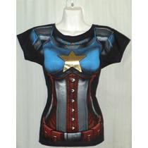 Sexy Playera Lady Capitan America, Marvel Comics!!!