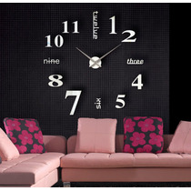 Reloj Grande De Pared Decorativo Sticker 3d 110 Cms - Plata