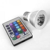 Foco Led Rgb 3w E26 -16 Colores Control Remoto