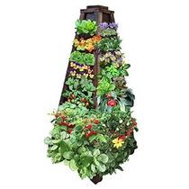Tierra Torre Jardín Vertical: 4-sided Jardinera De Madera So