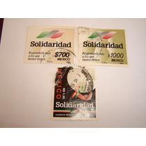 Estampillas Correo Mexico 3 Pzas. Solidaridad 700-1000-1.30