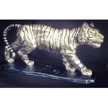 Escultura Tigre Muy Grande Plata 999 Electroformado Figura