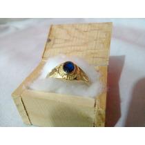 Anillo De Oro 10k Talla 19,5 Con Piedra Tipo Zafiro