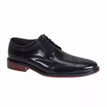 Zapatos Oxford Negro Bostoneanos En Piel Suela Cuero