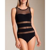 Trajes De Baño Indie Retro Entero Transparente Negro Bikini