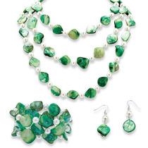 Verde Cáscara Y Perla Jewelry Set En Silvertone