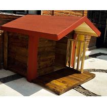 Casa De Madera Para Perro Con Terraza. Impermeabilizada