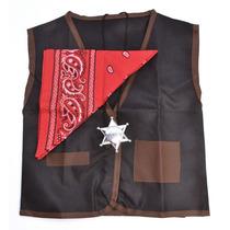 Vaquero Traje - Negro Conjunto Chaleco Rojo Bandana Sheriffs
