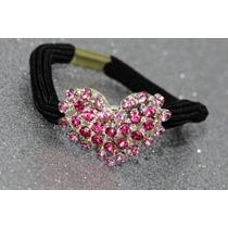 Liga Para Cabello Cristales Rosas En Corazón Lig30