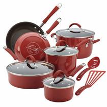 Bateria De Cocina Rachael Ray Esmalte Porcelana 12 Pzas Roja