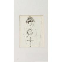 Pintura Con Dibujo De Una Persona Con Una Cruz